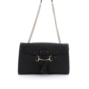 f7827b278b9 Gucci Emily Chain Black Guccissima Leather Medium Shoulder Bag - Tradesy
