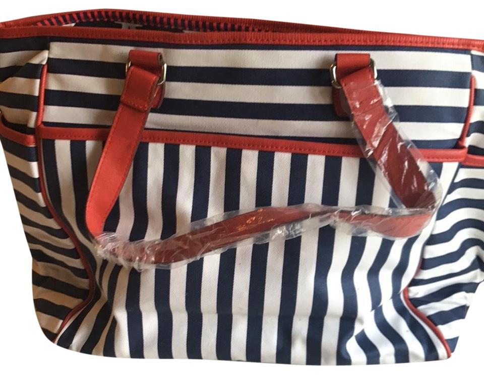 Stella Dot Nautical Compartment Convenient Wipeable Blue White Red Diaper Bag