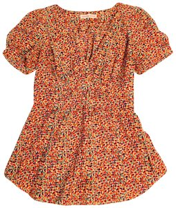 4a474659a56be Rebecca Taylor Floral Silk Silk Flower Top multi color