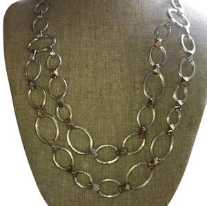 Stella & Dot silver and gold chain necklace