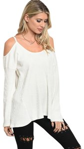 LoveRiche Waffle Cold Shoulder Winter Fall Top White