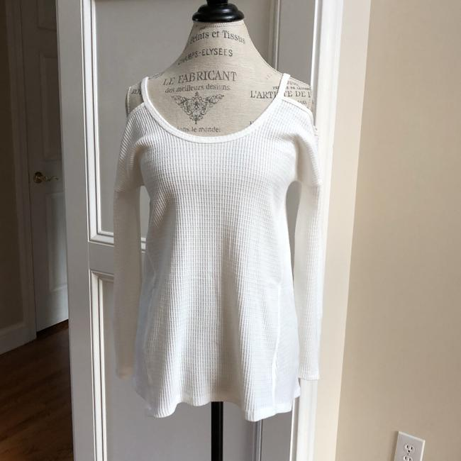 LoveRiche Waffle Cold Shoulder Winter Fall Top White Image 2