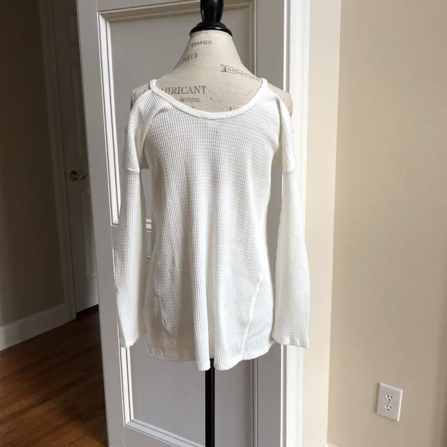 LoveRiche Waffle Cold Shoulder Winter Fall Top White Image 4