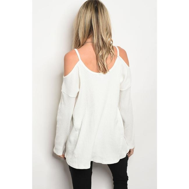 LoveRiche Waffle Cold Shoulder Winter Fall Top White Image 1