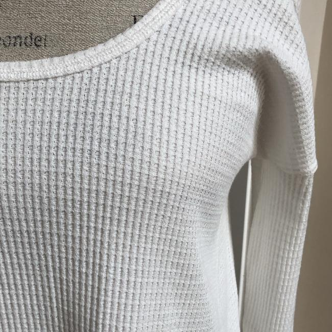 LoveRiche Waffle Cold Shoulder Winter Fall Top White Image 3