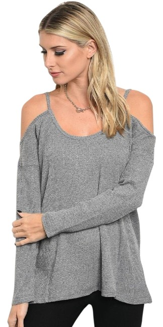 Preload https://img-static.tradesy.com/item/22424975/loveriche-gray-sexy-cold-shoulder-sweater-tunic-new-fall-winter-holiday-blouse-size-8-m-0-3-650-650.jpg