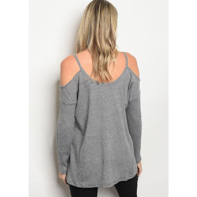 LoveRiche Waffle Cold Shoulder Winter Fall Top Gray