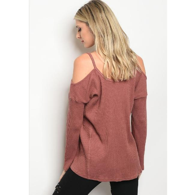 LoveRiche Waffle Cold Shoulder Winter Fall Top Brick