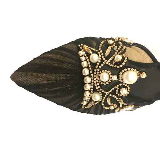 Rene Caovilla Jeweled Made In Italy Crystal Embellished Luxury Designer Holiday Party Black Pumps