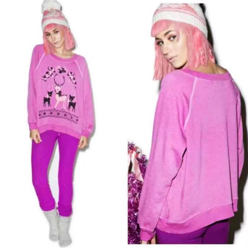 Wildfox Christmas Sweatshirt.Wildfox Kim S Reindeer Holiday Pink Christmas Jumper Sweatshirt Bbj Sweater 56 Off Retail