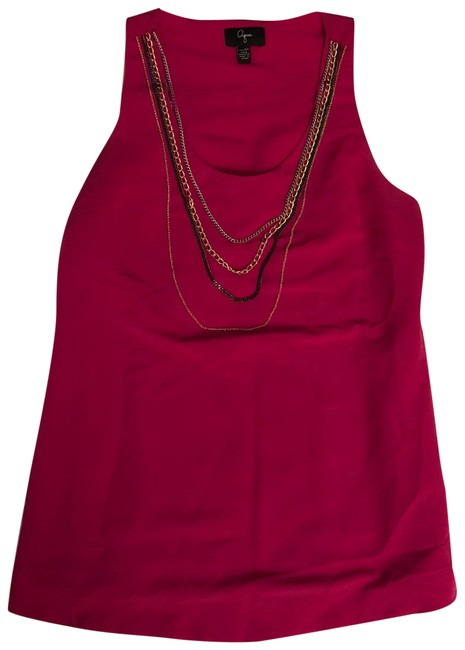 Preload https://img-static.tradesy.com/item/22425174/aqua-fuchsia-silky-tank-with-chain-necklaces-night-out-top-size-0-xs-0-3-650-650.jpg