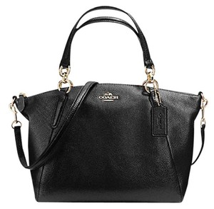 Coach Kelsey Pebbled Crossbody 36675 Satchel in Black gold