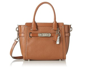 Coach Blue Azure Leather Pebbled Satchel in Saddle silver