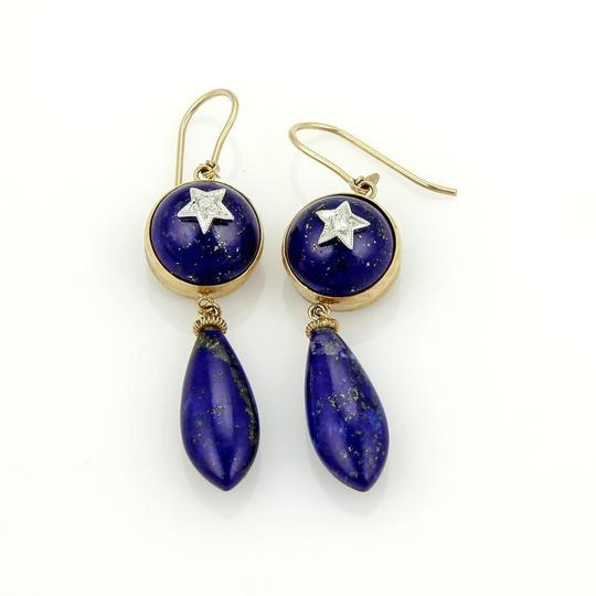 Other Diamond Star Lapis 9k Two Tone Gold Dangle Earrings
