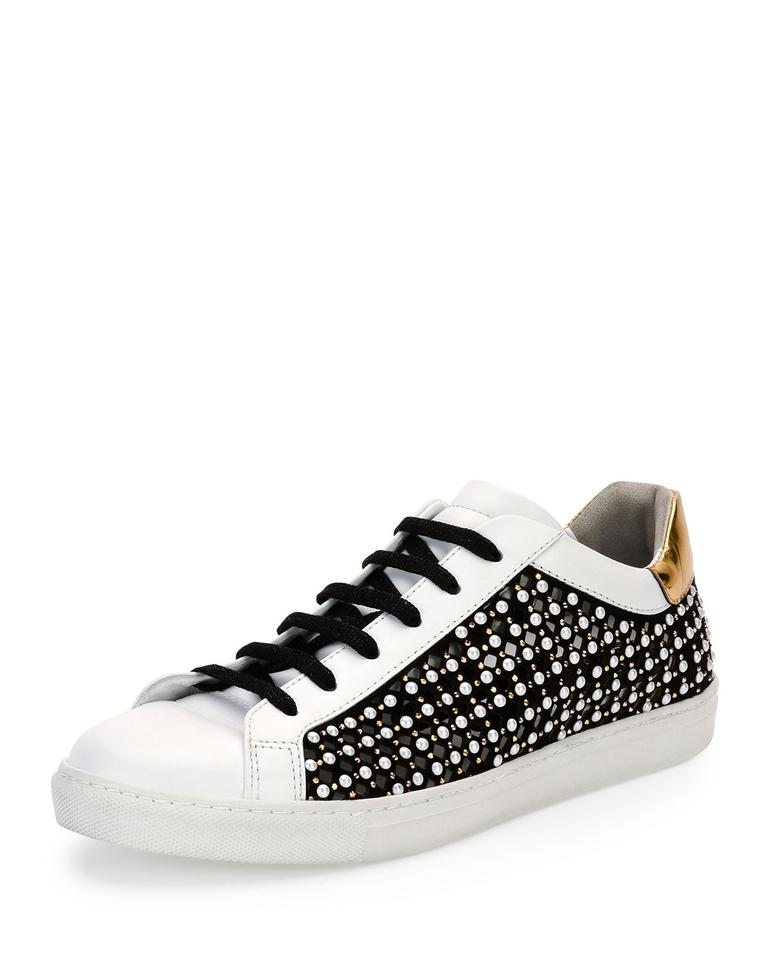 the latest 0fd38 31f4c Rene Caovilla White/Black Pearly Leather Low-top Sneaker White/Black Flats  Size US 7 Regular (M, B) 56% off retail