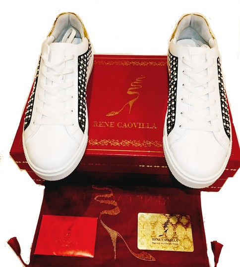 Rene Caovilla Jeweled Made In Italy Crystal Embellished Luxury Designer Sneaker White/Black Flats