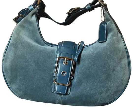 Preload https://img-static.tradesy.com/item/22425424/coach-purse-blue-suede-and-leather-satchel-0-1-540-540.jpg