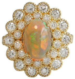 Other 3.45 CTW Natural Ethiopian Opal and Diamonds in 14K Solid Yellow Gold