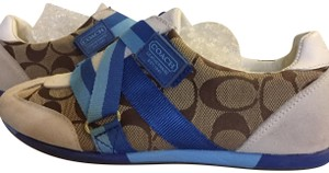 Coach Juli Size 6 Flat signature print and blue Athletic