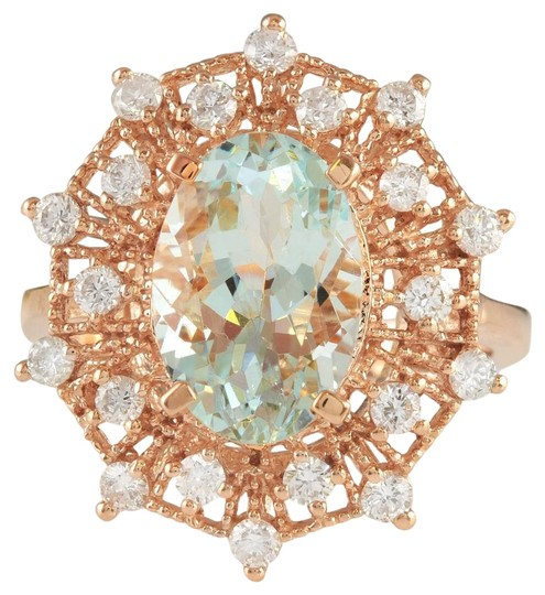 Preload https://img-static.tradesy.com/item/22425510/rose-gold-478ctw-natural-blue-aquamarine-and-diamond-in-14k-solid-ring-0-1-540-540.jpg