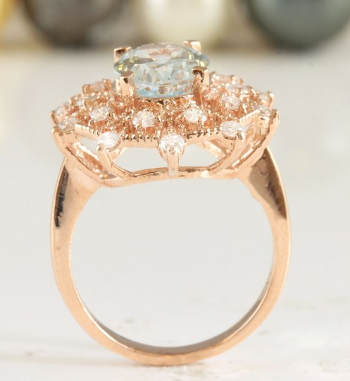 Other 4.78CTW Natural Blue Aquamarine & Diamond in 14K Solid Rose Gold Ring