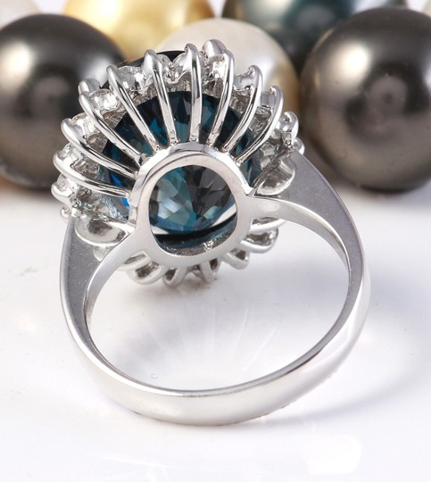 Other 12.06CTW Natural London Blue Topaz and Diamonds in 14K White Gold Ring