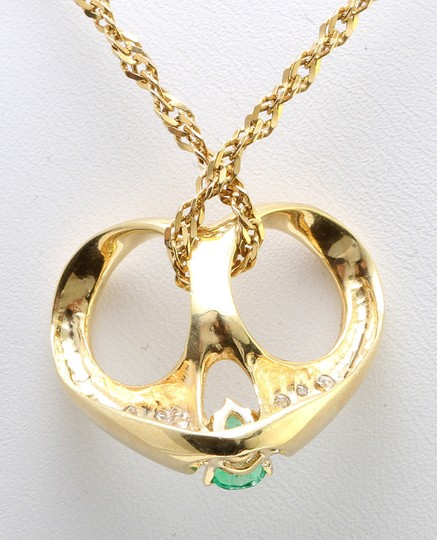 Other .80 CTW Natural Colombian Emerald & Diamond in 14K Yellow Gold Pendant
