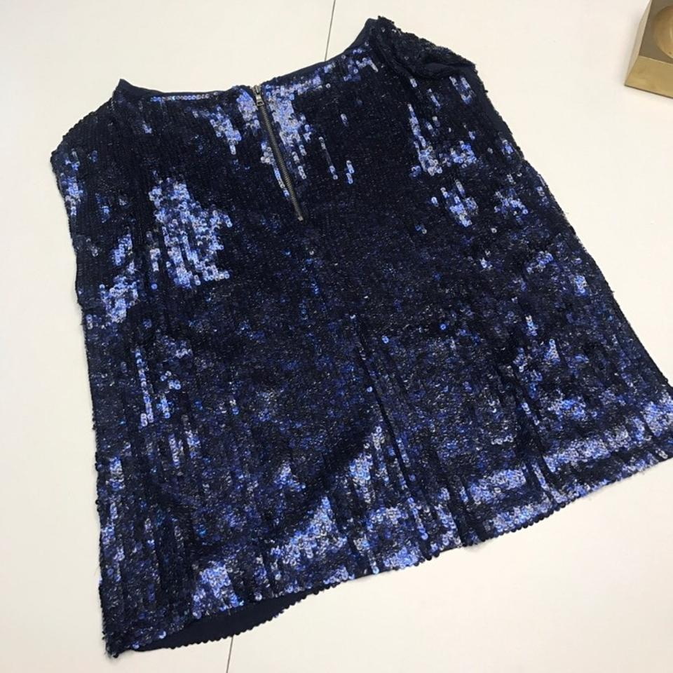 Olivia Sequin Alice Out Top Night Boxy Sleeveless Blue 1xd8Iwd4q