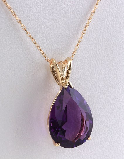Other 9.20 CTW Natural Amethyst in 14K Solid Yellow Gold Women Pendant