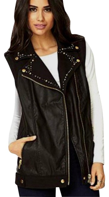 Preload https://img-static.tradesy.com/item/22425710/forever-21-black-gold-new-with-tags-moto-biker-studded-faux-leather-vest-jacket-size-6-s-0-9-650-650.jpg