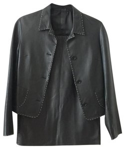 Neiman Marcus Neiman Marcus Leather Skirt Suit