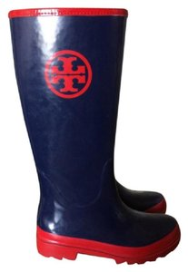 Tory Burch Glossy Finish Medallion Logo Rain Navy with Red Boots