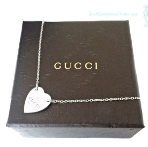 Gucci Heart Charm Silver Necklace Pendant