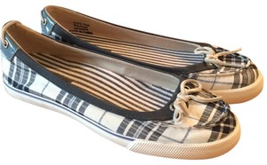 Sperry Padded Insoles Boat Navy and white plaid with white rubber rawhide ties Flats