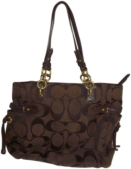 Preload https://img-static.tradesy.com/item/22426086/coach-heavy-material-accents-tags-straps-brown-polyester-leather-satchel-0-2-540-540.jpg