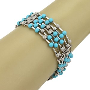 Other Turquoise Textured Strung Bead 18k Gold Bracelet