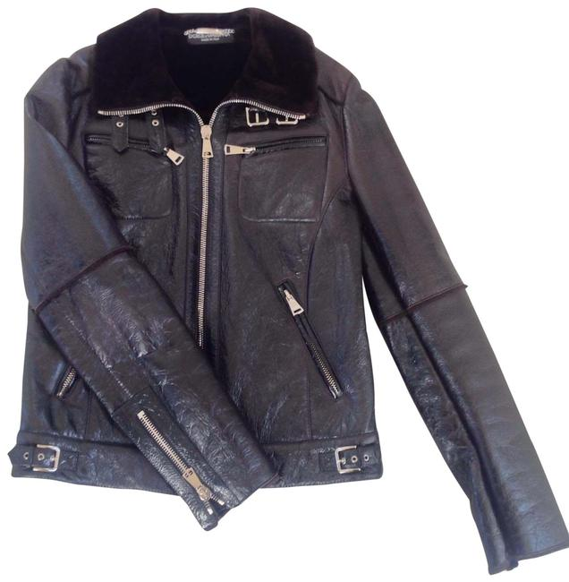 Item - Black Brown Dolce and Gabbana Leather Lambskin Jacket Size 8 (M)
