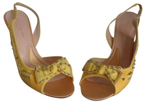 Alessandro Dell'Acqua Bows On Vamps Runs Small Miu Miu Dust Bag Strass Crystals Sunshine Yellow Sandals