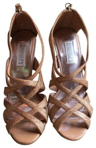 Badgley Mischka Strappy Evening Sandals Rose Gold Glitter Formal