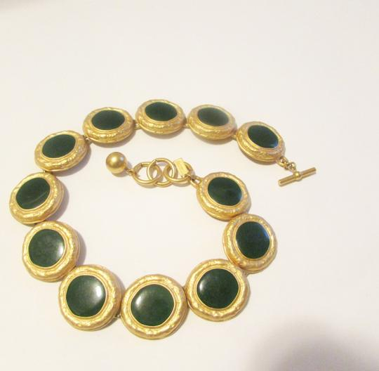 "Anne Klein Anne Klien ""Vintage"" Satin Polish Green Enamel 18 Inch Toggle Statement Necklace"