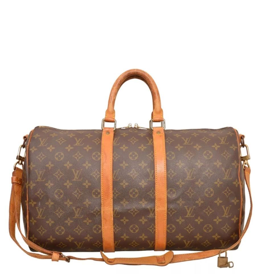 e83e3387d2d11 Louis Vuitton Keepall 45 Bandouliere Monogram Brown Coated Canvas  Weekend Travel Bag