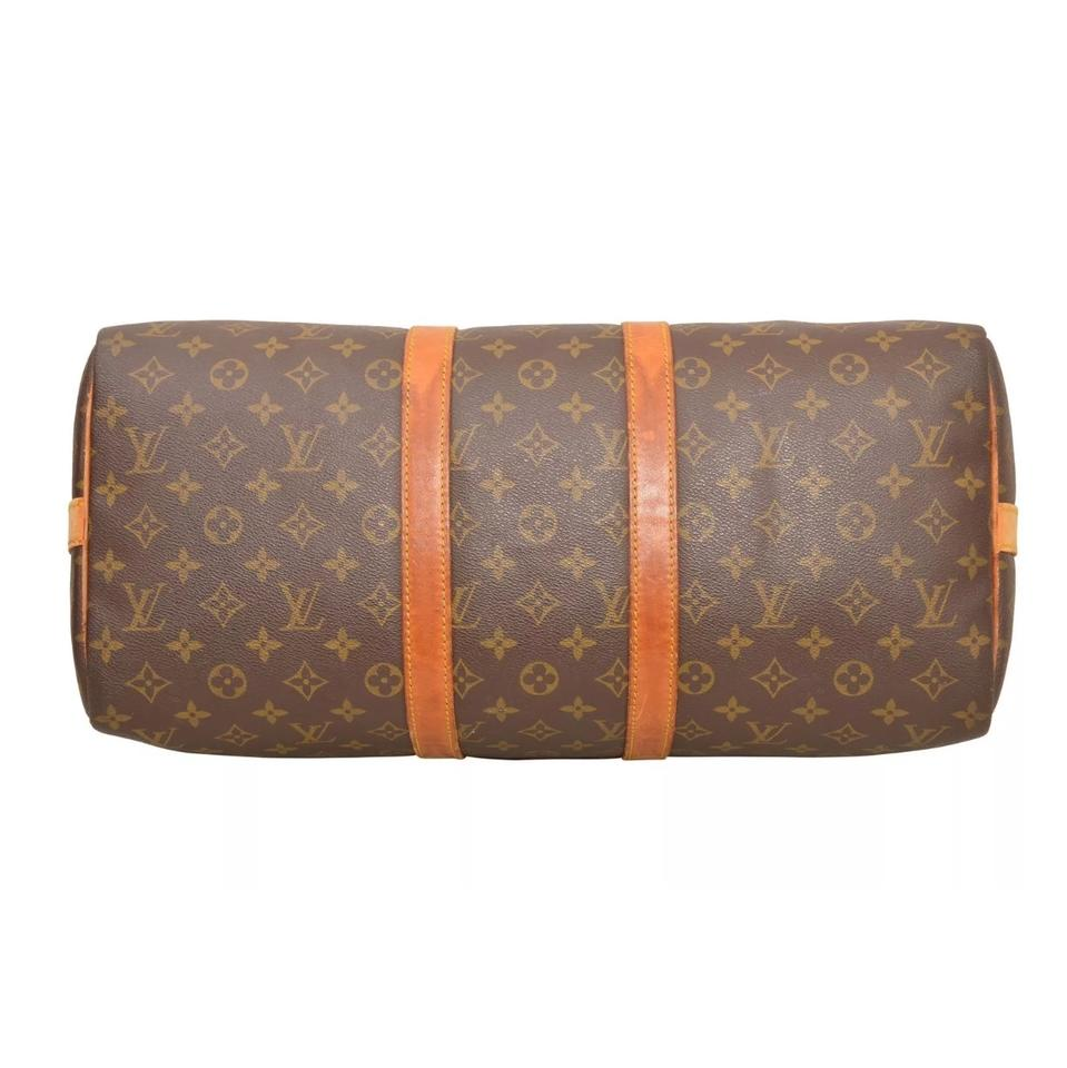 5e5ee80dd23d6 Louis Vuitton Keepall 45 Bandouliere Monogram Brown Coated Canvas ...