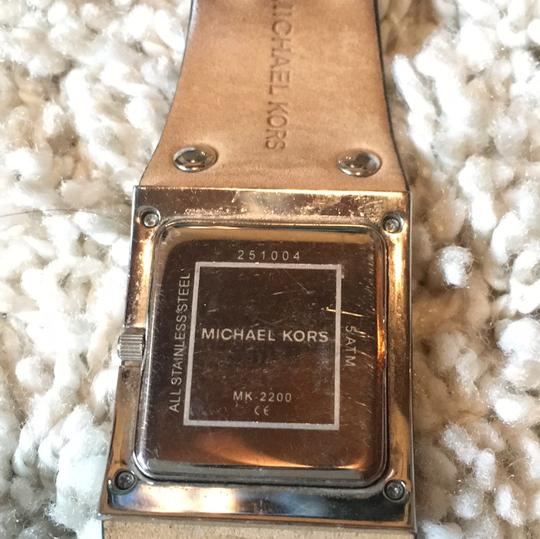 MICHAEL Michael Kors black leather stainless steel watch