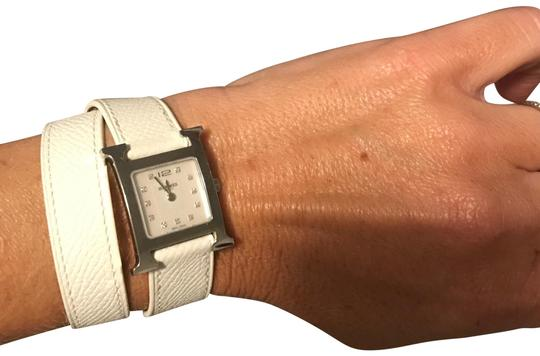 Preload https://img-static.tradesy.com/item/22426497/hermes-white-and-stainless-steel-heure-h-21-x-21-watch-0-2-540-540.jpg