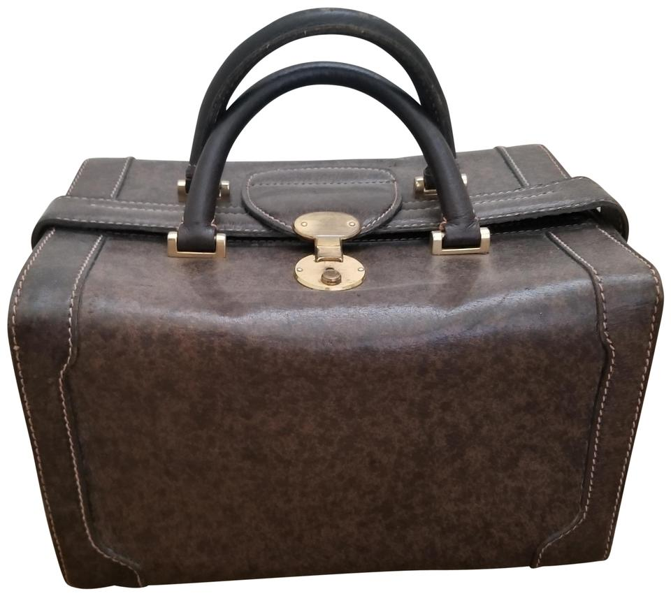 3eefa9d1bf71 Gucci Brown Vintage Leather Train Travel Vanity Case Cosmetic Bag ...