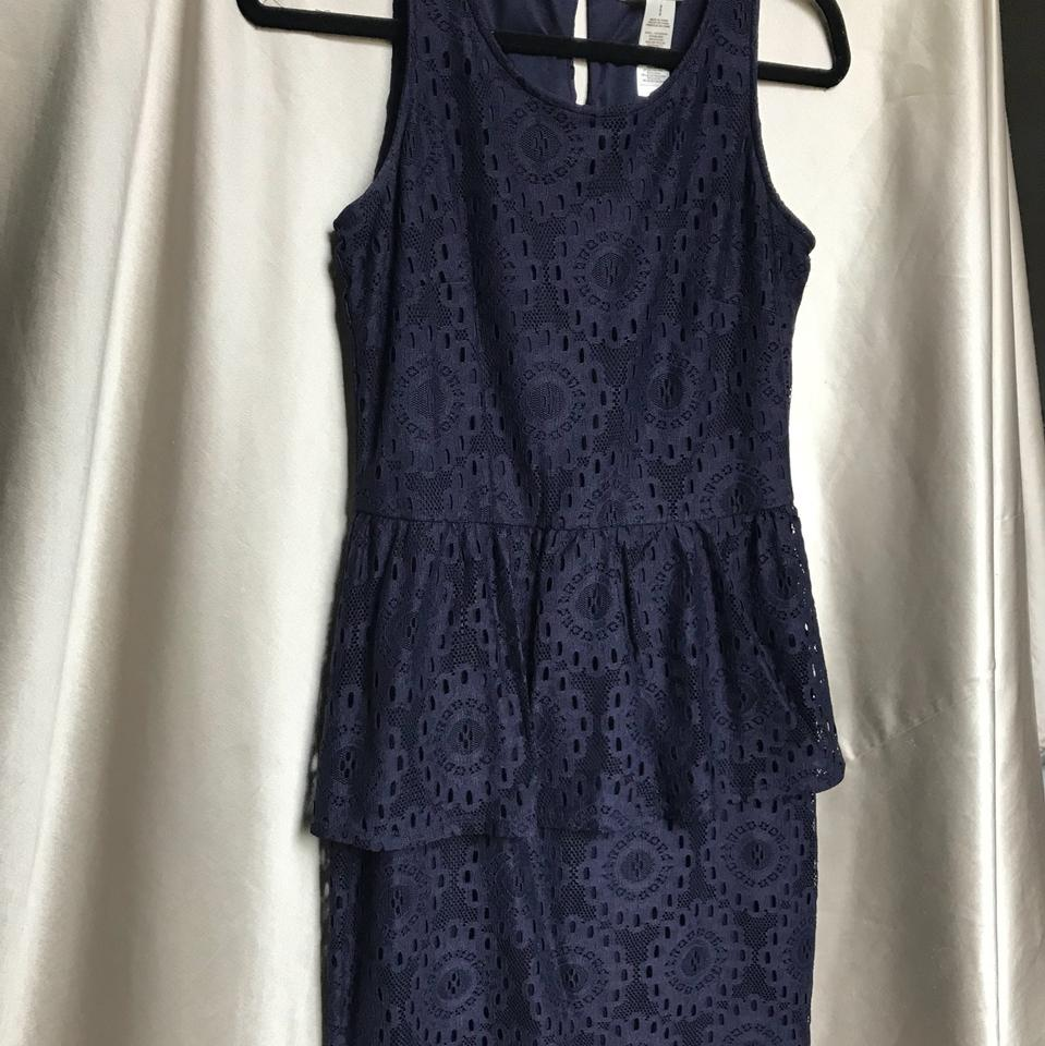 Laundry By Design Navy Mid Length Cocktail Dress Size 6 S