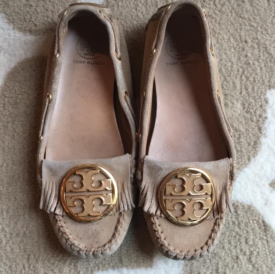 dee696027d5 Tory Burch Tan Suede with Gold Logo 'alexandra' Moccasins Flats Size ...