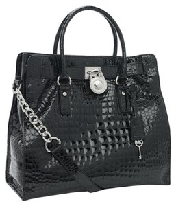 Michael Kors Patent Leather 30h3ghmt3a North South Croc Crocodile Tote in Black