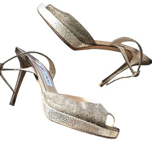 Jimmy Choo Gold and copper Platforms