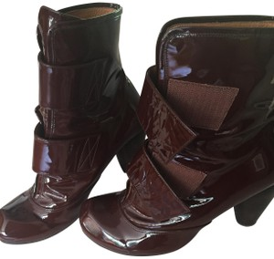 Chie Mihara Patent Leather Velcro Funky Chic Brown Boots